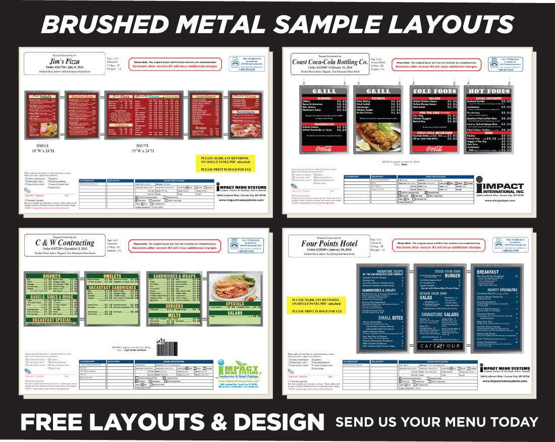 Brushed Metal Indoor Menu Boards
